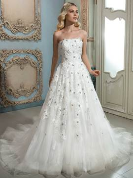 Ericdress Elegant Apliques Beaded Strapless A Line Wedding Dress
