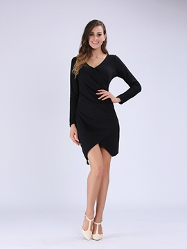 Ericdress Solid Color Deep V-Neck Split Bodycon Dress