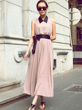 Ericdress Solid Color V-Neck Lace-Up Maxi Dress