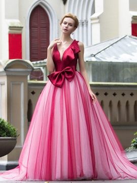 Ericdress v-Neck robe boule Bowknot Tribunal Train robe de Quinceanera