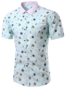 Ericdress Printed Slim Short Sleeve Men's Shirt