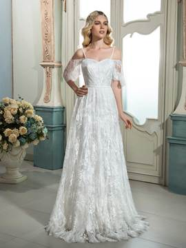 Ericdress Beautiful Spaghetti Straps A Line Lace Wedding Dress