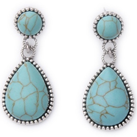 Blue Stone Pendant Earrings