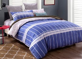 Ericdress Blue Plaid Cotton Bedding Sets