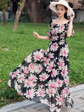Ericdress Flower Print Short Sleeve Expansion Patchwork Maxi Dress