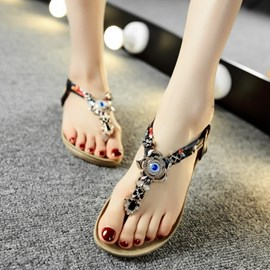 Ericdress Vintage Thong Ankle Strap Flat Sandals