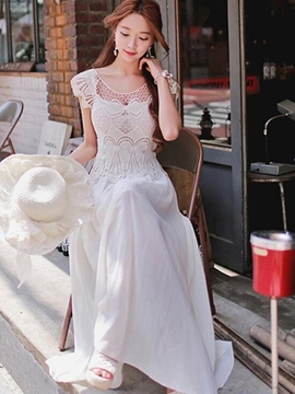 Ericdress White Soild Color Maxi Dress