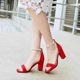 Ericdress Pearl Open Toe Chunky Sandals