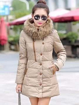 Ericdress Slim Button Plus Size Coat