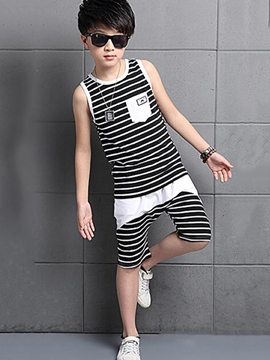 Ericdress Strips Print Patchwork Sleeveless Boys Outfits