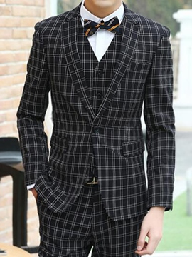 Ericdress Three-Piece of Classic Plaid Men's Suit