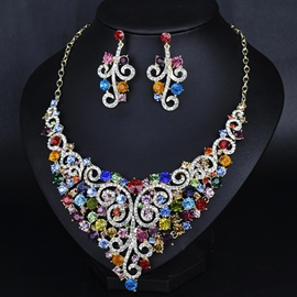 Ericdress Crystal Diamante Flowers Jewelry Set