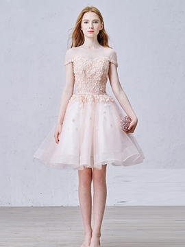 Ericdress A-Line Scoop Short Sleeves Beading Pearls Short Homecoming Dress