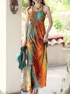 Ericdress Print Halter Maxi Dress