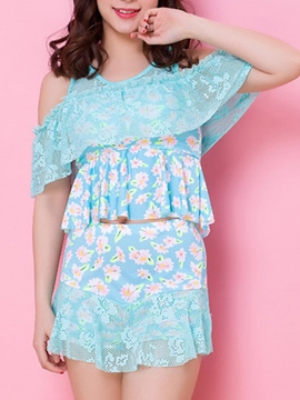 Ericdress Printed off Shoulder Lace Swimwear