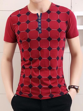 Ericdress Round Neck Slim Vogue Plaid Men's T-Shirt