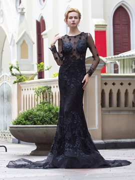 Ericdress Mermaid Scoop Long Sleeves Appliques Court Train Evening Dress