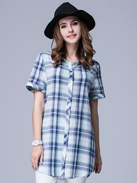 Ericdress Plaid Plus Size Blouse