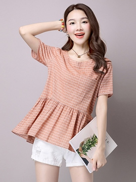Ericdress Slim Plaid A-Line T-Shirt
