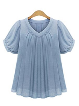 Ericdress Solid Color Pleated Blouse