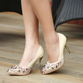 Ericdress Rhinestone Patchwork Point Toe Pumps