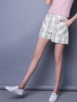 Ericdress Simple Plaid Shorts