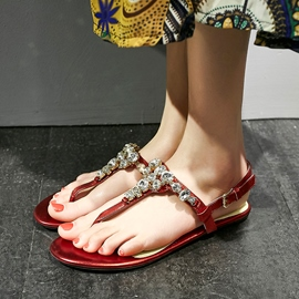 Ericdress Charming Rhinestone Flat Sandals