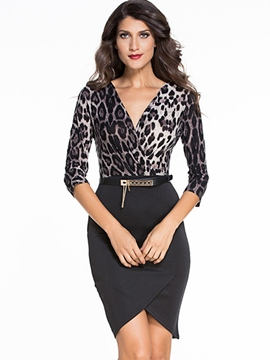Ericdress Leopard Print Patchwork Bodycon Dress