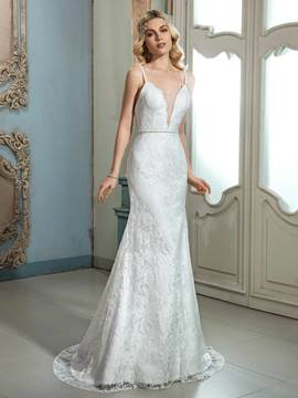 Ericdress Charming Spaghetti Straps Sheath Lace Wedding Dress