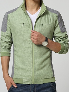 Ericdress Patchwork Zip Casual Men's Jacket