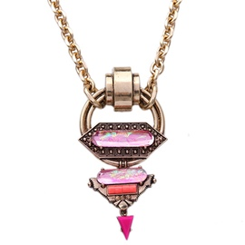 Pink Crystal Pendant Alloy Necklace
