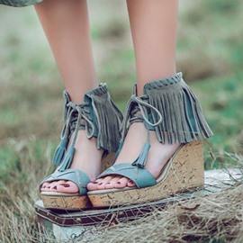 Ericdress Ethnic Tassels Open Toe Wedge Sandals