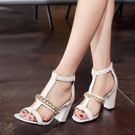 Ericdress Metal Chain T Strap Chunky Sandals