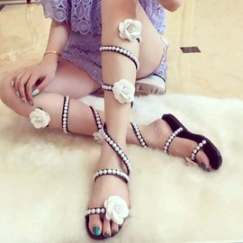 Ericdress Sweet Flower Pearl Cross Strappy Flat Sandals