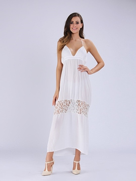 Ericdress Beach Spaghetti Strap Lace Patchwork Long Maxi Dress