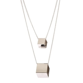 Ericdress Double Layers Square Block Pendant Necklace