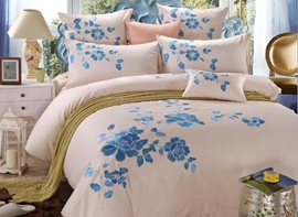 Ericdress Peony Embroidery Cotton Bedding Sets
