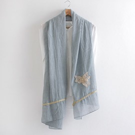 Ericdress Butterfly Embroidery Linen Scarf
