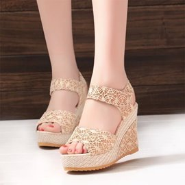 Ericdress Lace Velcro Wedge Sandals