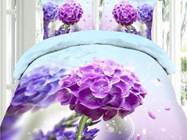 Ericdress Purple Windflower Print 3D Bedding Sets