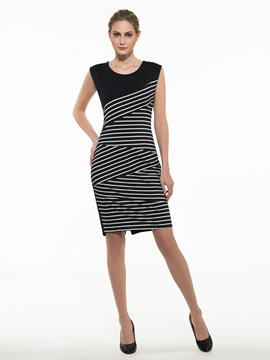 Ericdress Stripe Patchwork Sheath Dress