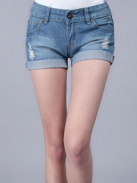 Ericdress Cuffed Ripped Denim Shorts