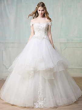 Ericdress Beautiful Appliques Beaded Off The Shoulder Ball Gown Wedding Dress