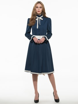 Ericdress Patchwork Lace-Up Vintage Casual Dress