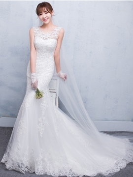 Ericdress Charming Scoop Appliques Mermaid Wedding Dress