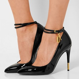 Ericdress Black Ankle Strap Pumps
