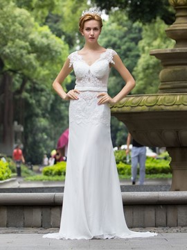 Ericdress Sexy Illusion Neckline Sheath Wedding Dress