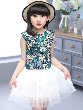 Ericdress Mesh Pleated Girls Skirt Outfit