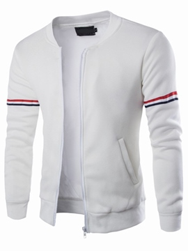 Ericdress Stripe Design Zip Casual Men's Jacket