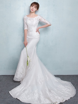Ericdress Modest Scoop Mermaid Wedding Dress With Sleeves